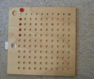 Montessori-Arithmetikmaterial-2,  Multiplikationsbrett