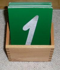 Montessori-Arithmetikmaterial-1,  Sandpapierziffern