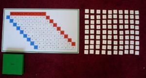 Montessori-Arithmetikmaterial-2,  Subtraktionstabelle